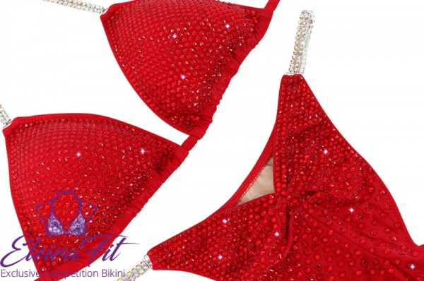Red Competition Bikini Posing Suit