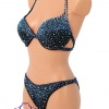 Black Competition Bikini Suit with Blue Rhinestones